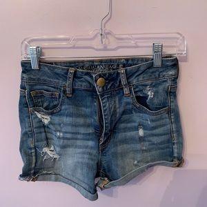 American Eagle Denim Ripped Jean Shorts Size 4